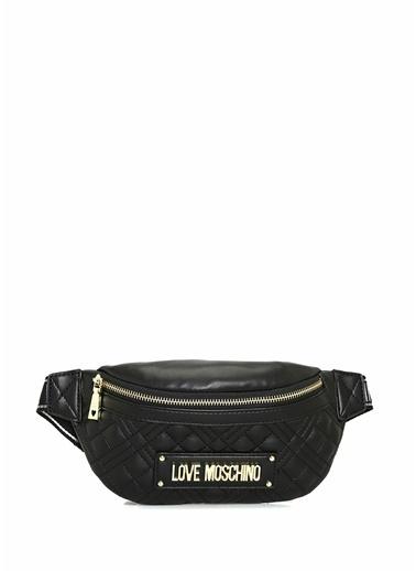 Love Moschino Love Moschino  Kapitoneli Logolu Kadın Bel Çantası 101630422 Siyah